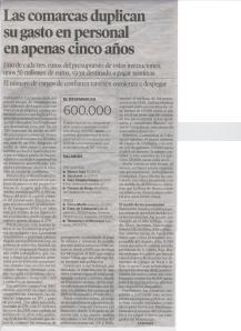 LAS COMARCAS DUPLICAN SU GASTO EN PERSONAL EN APENAS CINCO AÑOS -Heraldo de Aragón 23.10.2008 pg.4