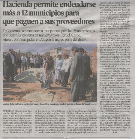 Hacienda permite endeudarse más a 12 municipios para que paguen a sus proveedores -Heraldo de Aragón- 10.10.2009